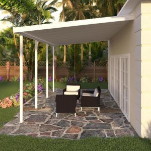 Integra 8 Ft X 20 Ft White Aluminum Attached Solid Patio
