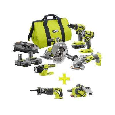 18-Volt ONE+ Lithium-Ion Cordless Brushless 5-Tool Combo Kit w/ Bonus Reciprocating Saw and Belt Sander with Dust Bag