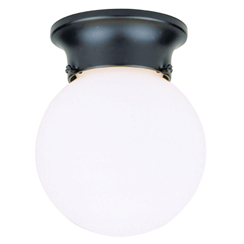 Westinghouse 1 Light Black Flush Mount Exterior Fixture With White Gl Globe