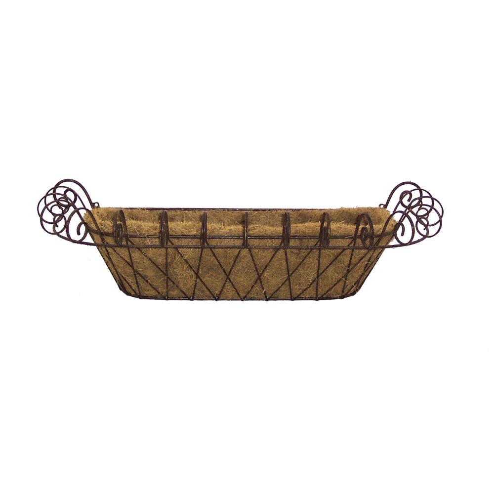 Deer Park 11 in. x 31 in. Metal Small French Window Box with Coco Liner