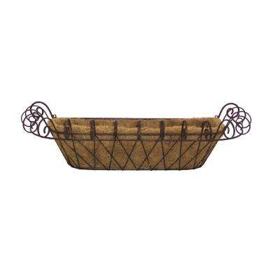 11 in. x 31 in. Metal Small French Window Box with Coco Liner