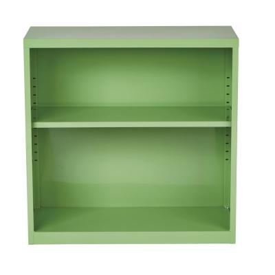 28 in. Green Metal 2-shelf Standard Bookcase with Adjustable Shelves