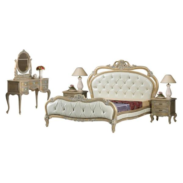 Peachy Gold White And Silver French Queen Bedroom Set Is All Solid Mahogany Bed 2 Side End Tables Vanity And Mirror Download Free Architecture Designs Scobabritishbridgeorg
