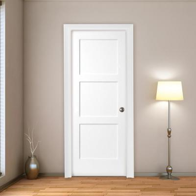 30 in. x 80 in. 3-Panel Equal Shaker White Primed LH Solid Core Wood Single Prehung Interior Door with Nickel Hinges