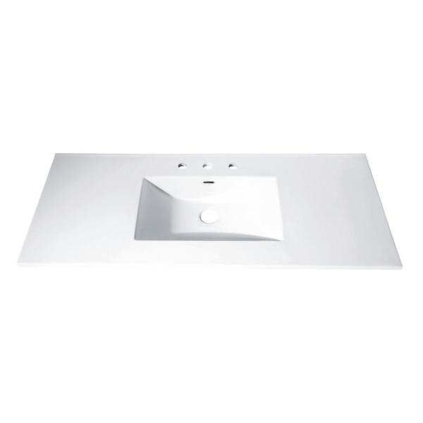 49 in. Vitreous China Vanity Top with Rectangular Bowl in White