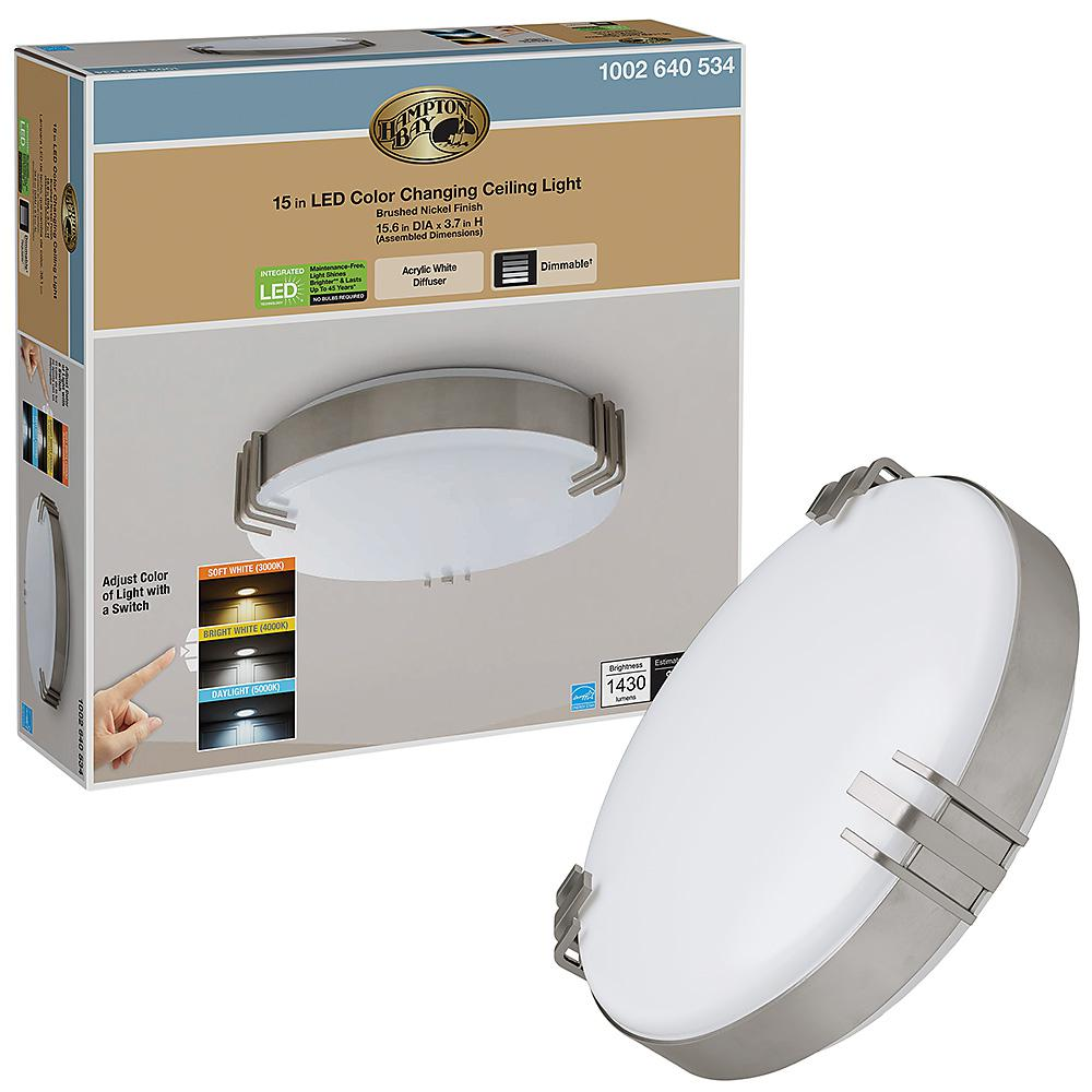 Hampton Bay Mission Industrial 15 in. Round Brushed Nickel Selectable LED Flush Mount Ceiling Light 1430 Lumens Dimmable was $42.88 now $22.97 (46.0% off)