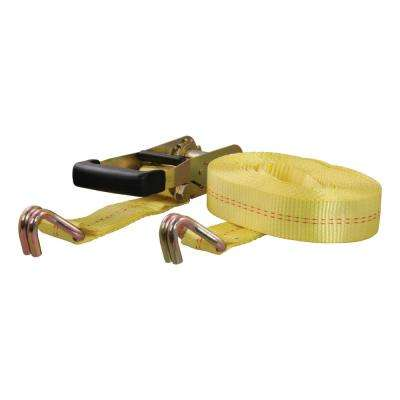27' Yellow Cargo Strap with J-Hooks (3,333 lbs.)