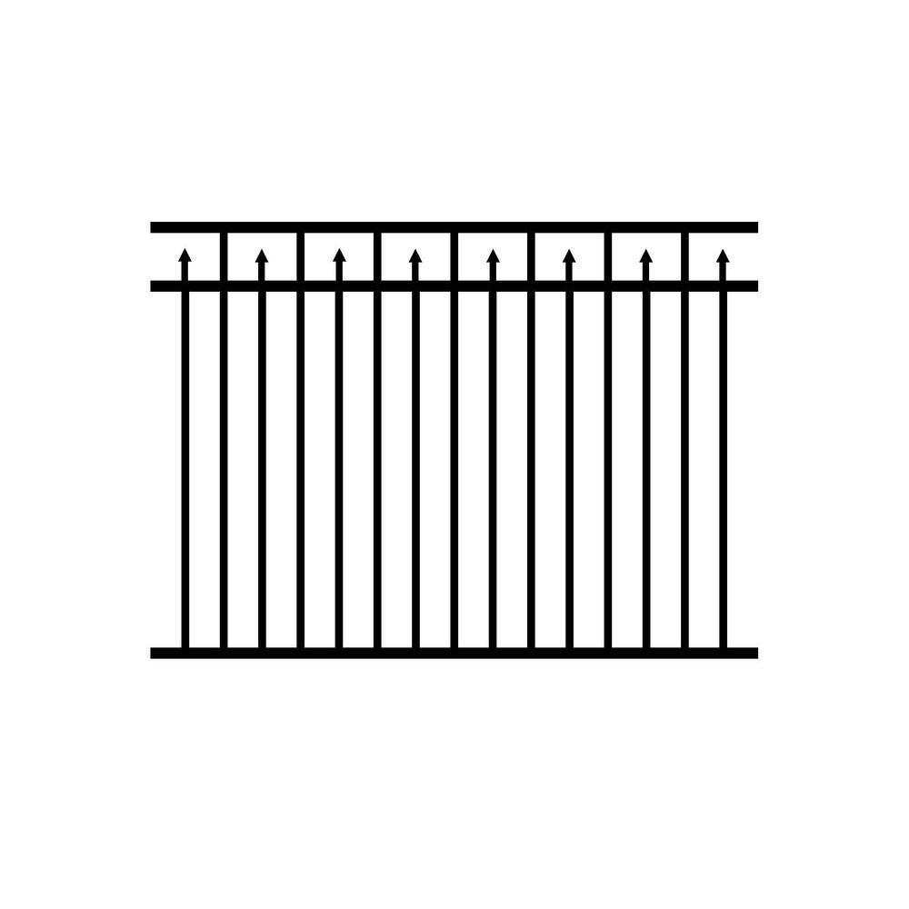 4.5 ft. H x 6 ft. W Adams Aluminum Black Fence