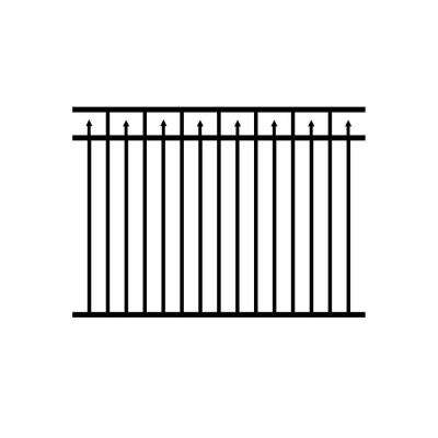 4.5 ft. x 6 ft. Adams Aluminum Metal Black Fence Panel Section