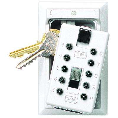 Mounted 5-Key Box with Pushbutton Combination Lock, ​White