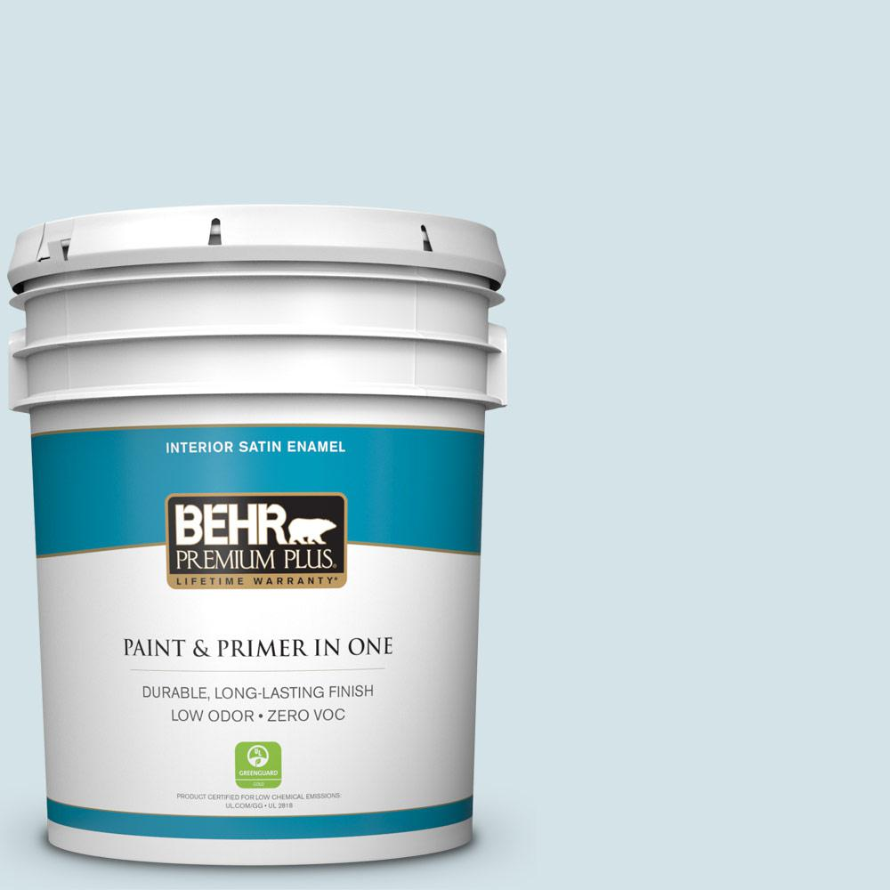 BEHR Premium Plus 5-gal. #PPL-72 Spa Retreat Zero VOC Satin Enamel Interior Paint