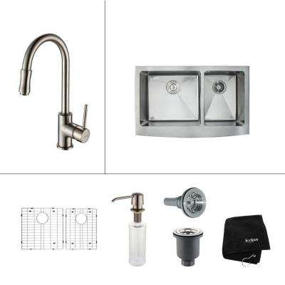 All-in-One Farmhouse Apron Front Stainless Steel 36 in. Double Bowl Kitchen Sink with Faucet in Satin Nickel