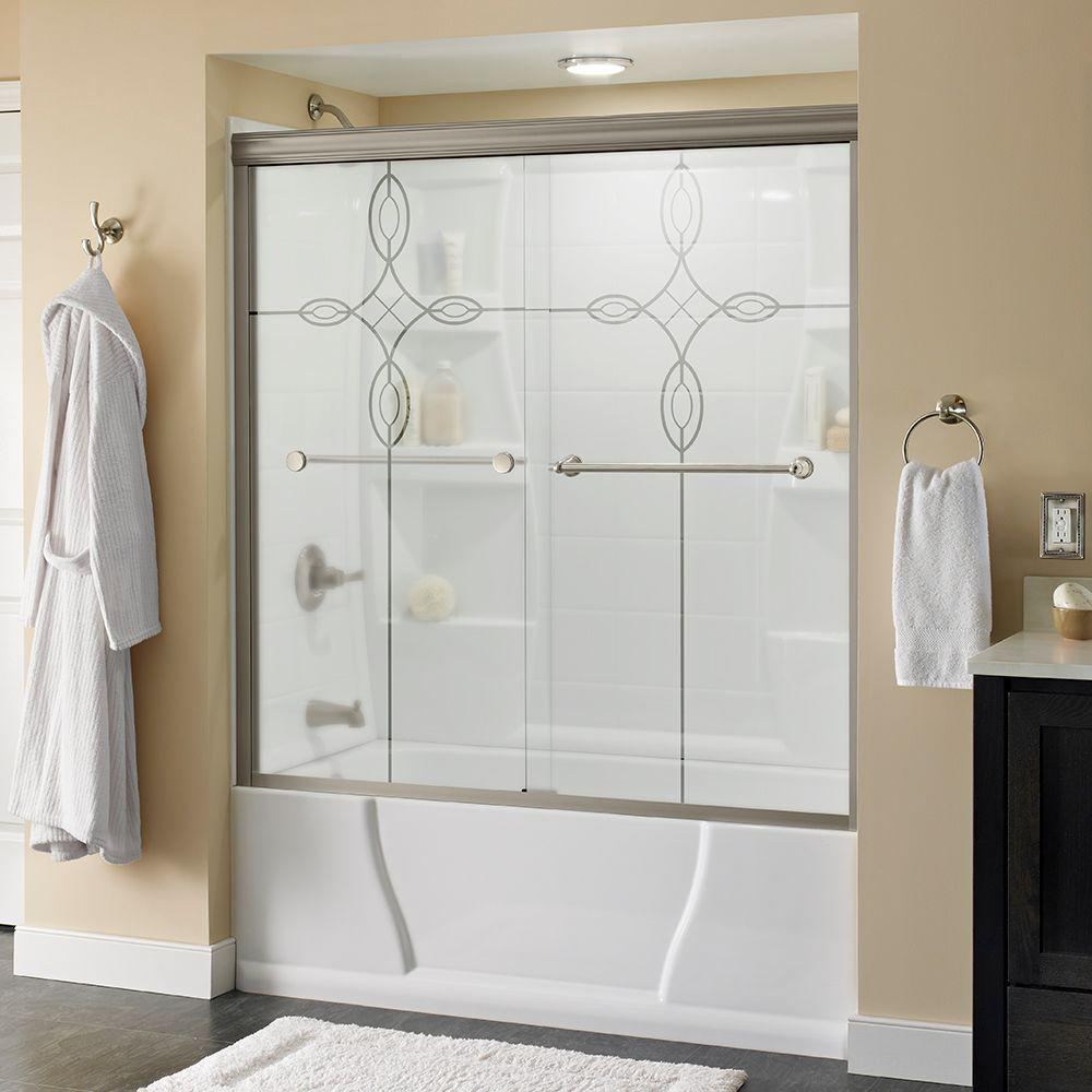 Crestfield 60 in. x 58-1/8 in. Semi-Frameless Sliding Bathtub Door in