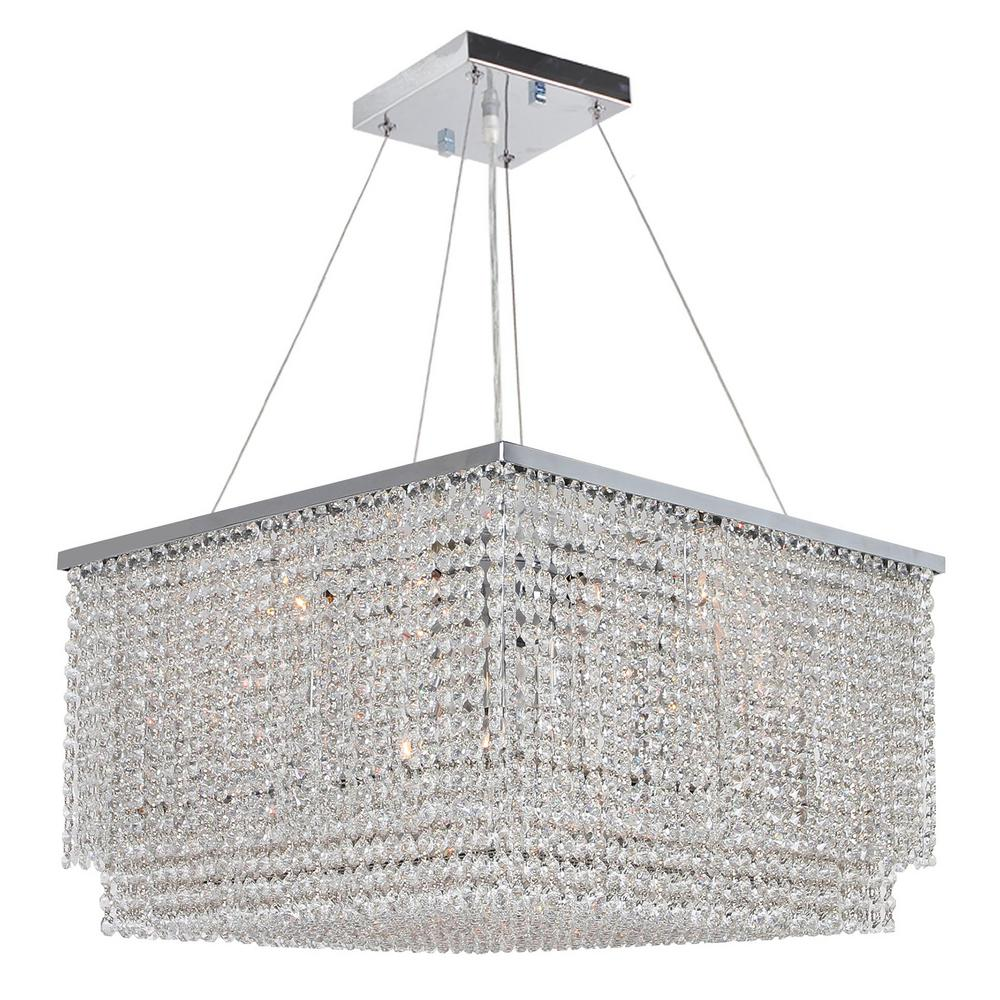 Worldwide Lighting Prism Collection 12-Light Chrome Chandelier