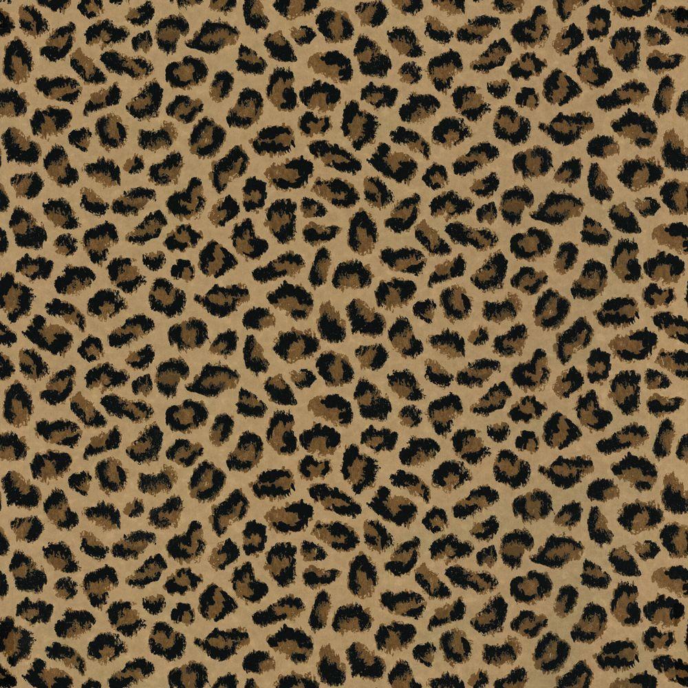 The Wallpaper Company 56 sq. ft. Brown Leopard Print Wallpaper
