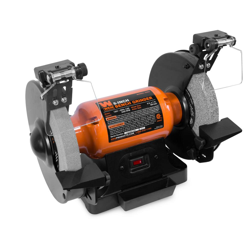 Greatest WEN 4.8 Amp 8 in. Bench Grinder with LED Work Lights and Quenching  MN12