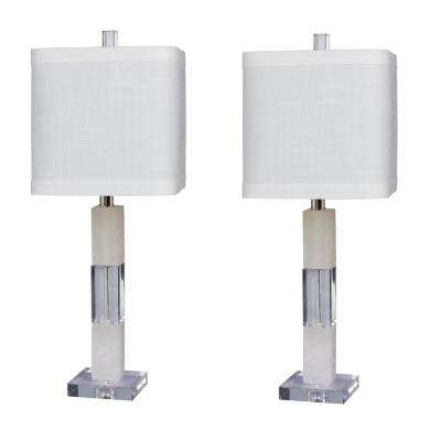 Pair of 26 in. Clear Crystal and Snow Marble Stacked Block Table Lamp