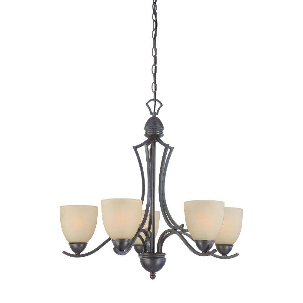 thomas lighting triton 5 light sable bronze chandelier with tea stained glass shade sl808222. Black Bedroom Furniture Sets. Home Design Ideas