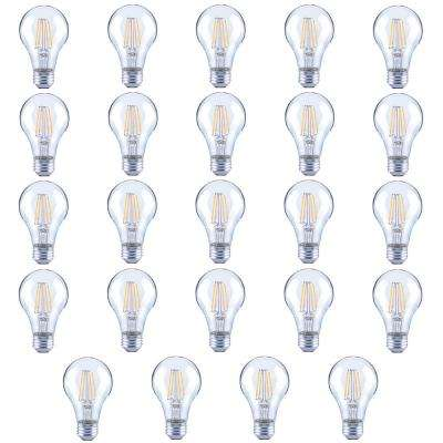 60-Watt Equivalent A19 Clear Glass Vintage Decorative Edison Filament Dimmable LED Light Bulb Daylight (24-Pack)