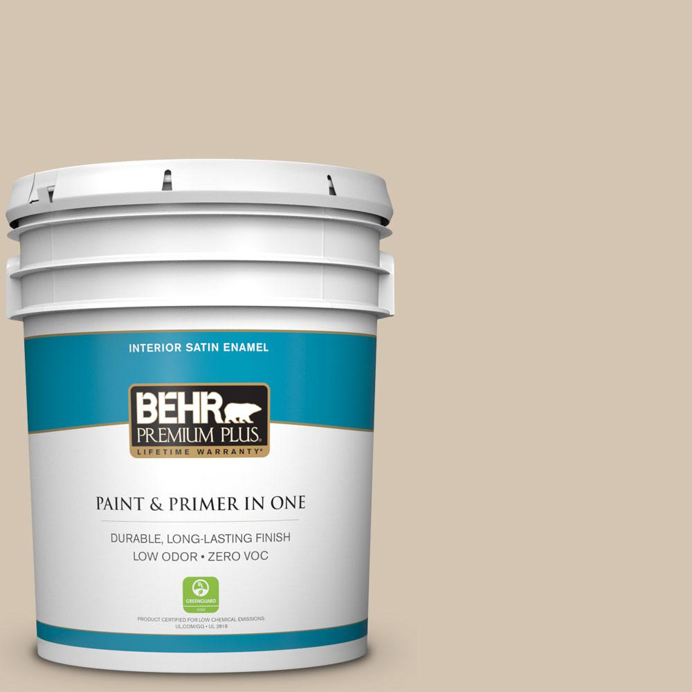 BEHR Premium Plus 5-gal. #N300-3 Casual Khaki Satin Enamel Interior Paint