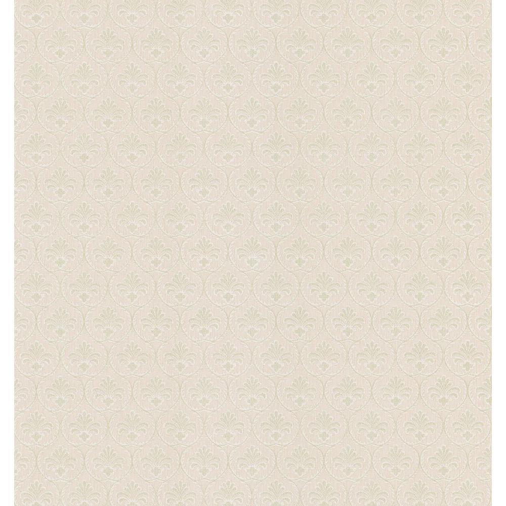 Brewster Textured Weaves Neutral Shell Motif Wallpaper Sample