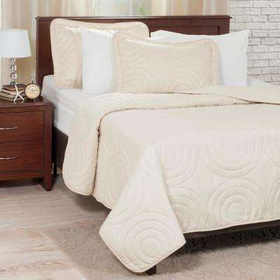 Embossed Ivory Polyester Twin Quilt