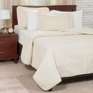 Embossed Ivory Solid Twin Quilt