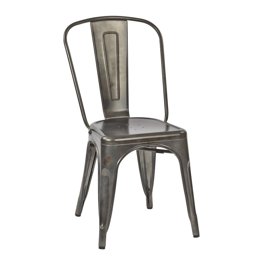 Bristow Matte Galvanized Armless Metal Chair (4-Pack)