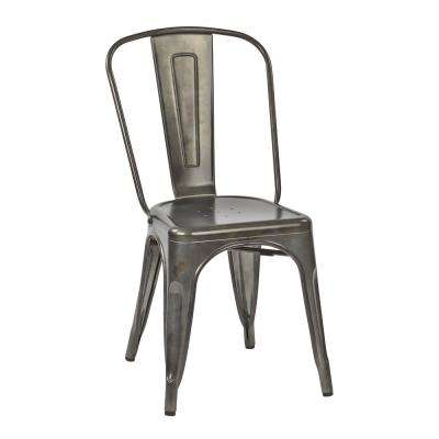 Bristow Matte Galvanized Armless Metal Chair (4-Pack)