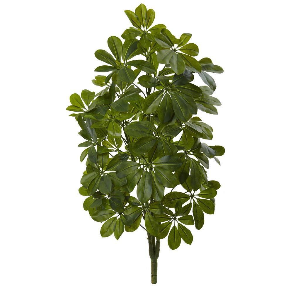 Indoor 32 in. Green Baby Schefflera Artificial Plant Real Touch (2-Set)