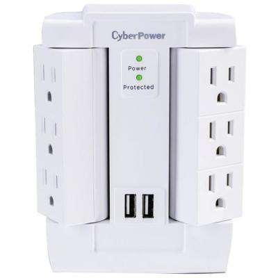 6-Outlet Swivel Professional Surge Protector Wall Tap with 2 Usb Ports