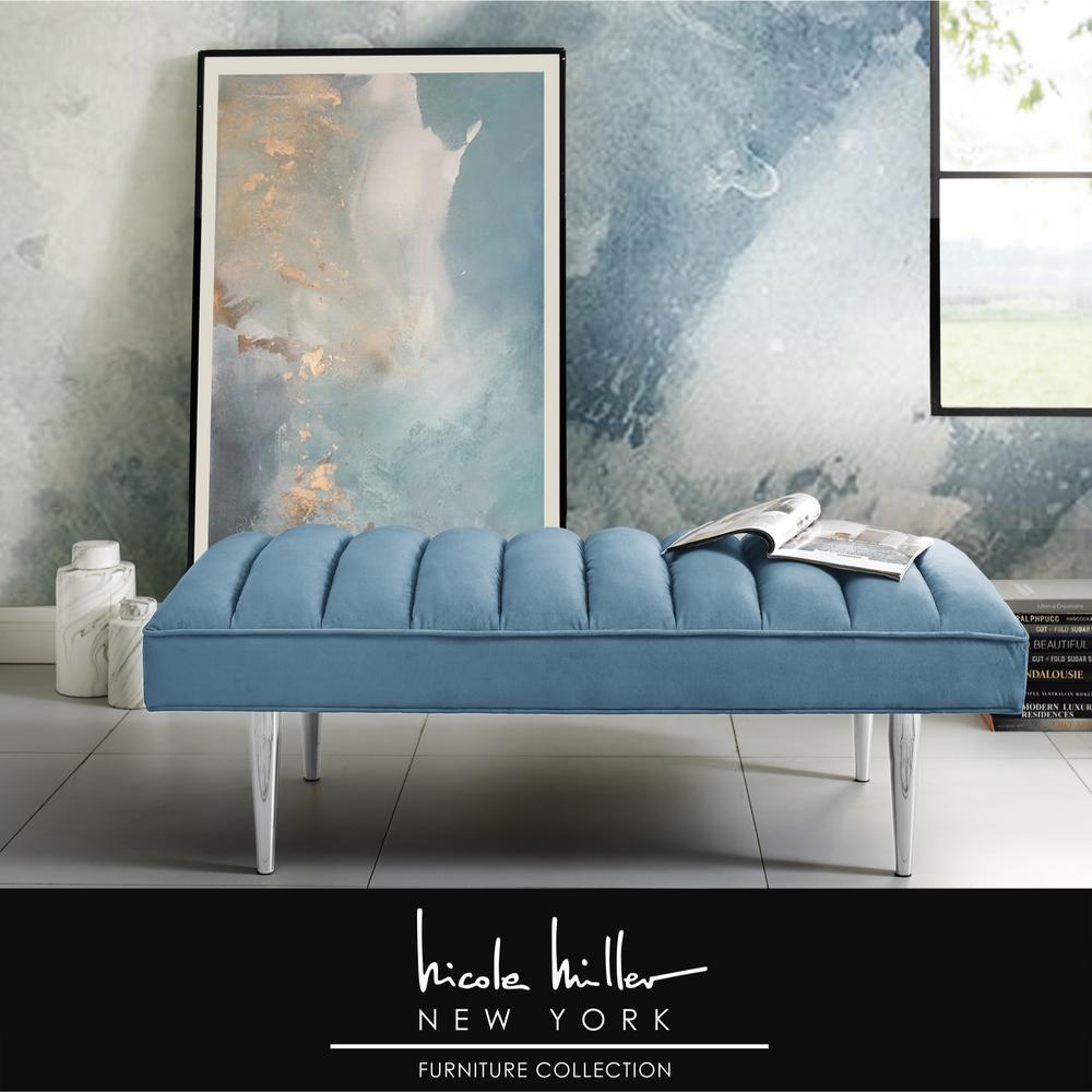 Denver Blue/Chrome Velvet Bench with Upholstered
