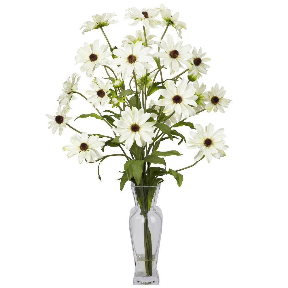27 In H White Cosmos With Vase Silk Flower Arrangement 1172 Wh