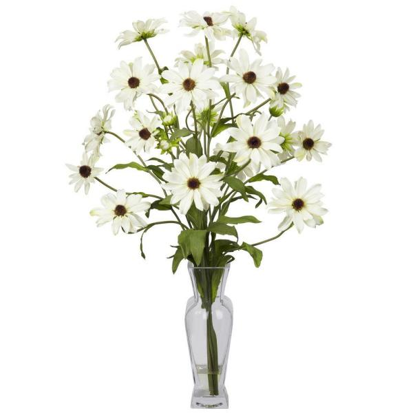 undefined 27 in. H White Cosmos with Vase Silk Flower Arrangement