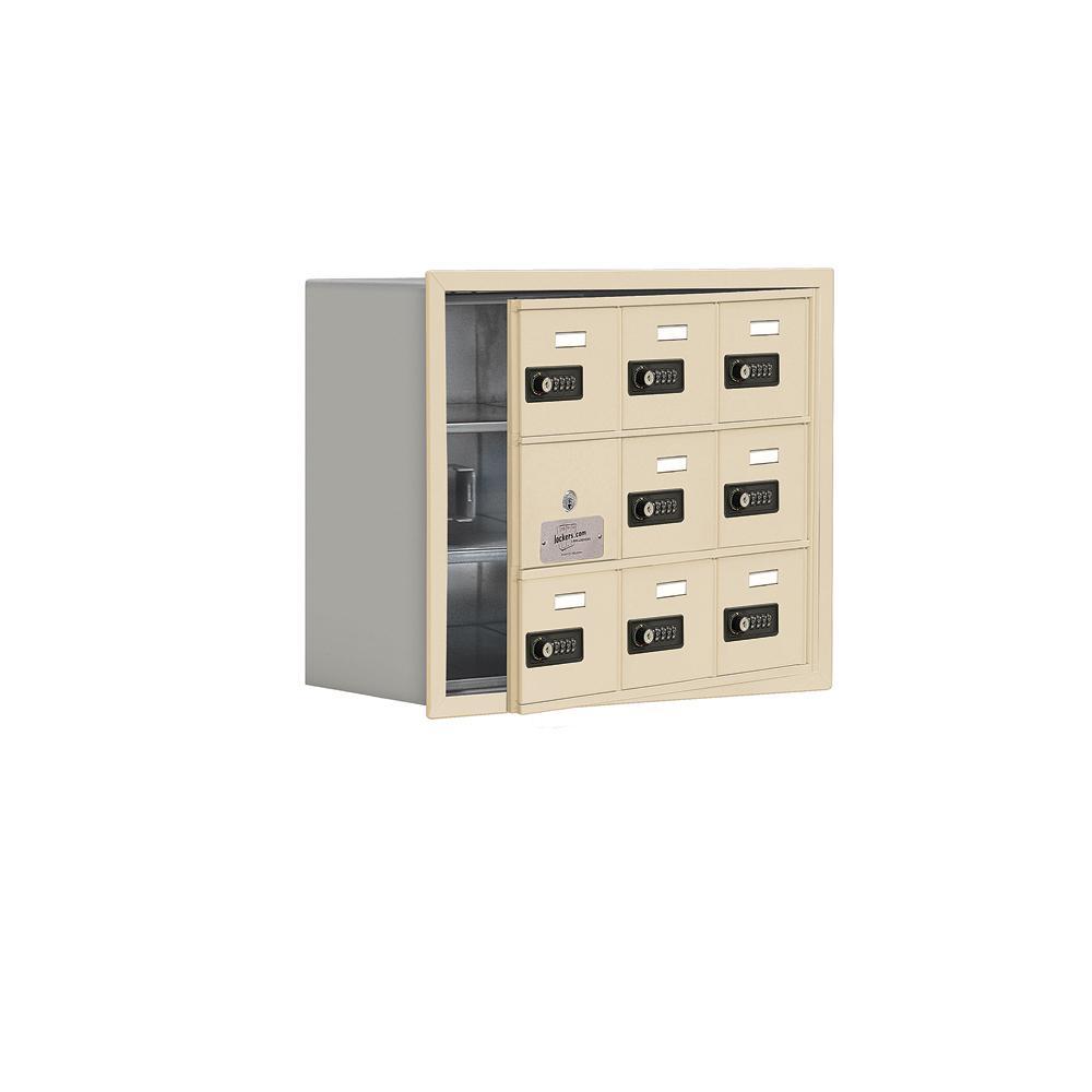 19100 Series 22.75 in. W x 18.75 in. H x 8.75 in. D 8 Doors Cell Phone Locker Recess Mount Resettable Lock in Sandstone