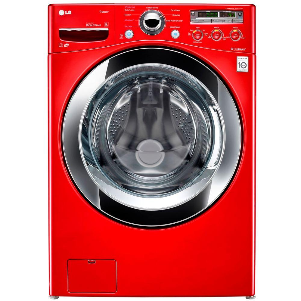 LG Electronics 4.0 DOE cu. ft. Large Front Load Washer with Steam in Wild Cherry Red, ENERGY STAR