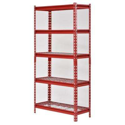 30 in. W x 12 in. D x 60 in. H 5-Shelf Z-Beam Boltless Steel Shelving Unit in Red