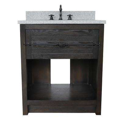 Plantation II 31 in. W x 22 in. D Bath Vanity in Brown with Granite Vanity Top in Gray with White Oval Basin