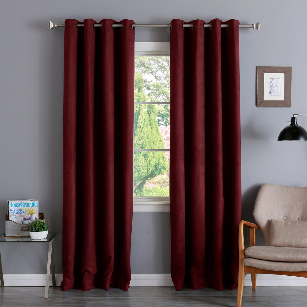 L Burgundy Suede Blackout Curtain 2 Pack