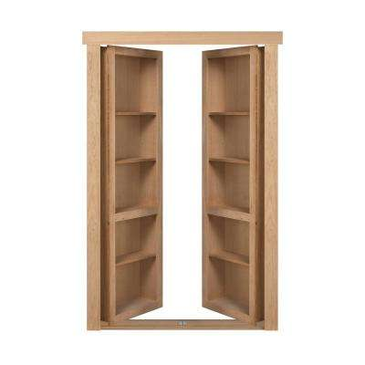 48 in. x 80 in. Flush Mount Assembled Cherry Unfinished In-Swing Solid Core Interior French Bookcase Door