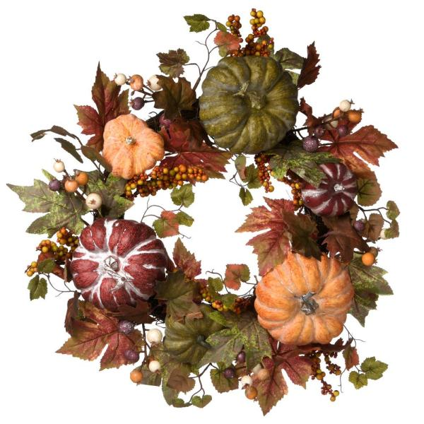22 in. Artificial Pumpkins and Maple Leaves Harvest Wreaths