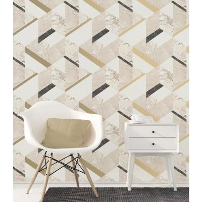 56.4 sq. ft. Elvira Cream Marble Geometric Wallpaper