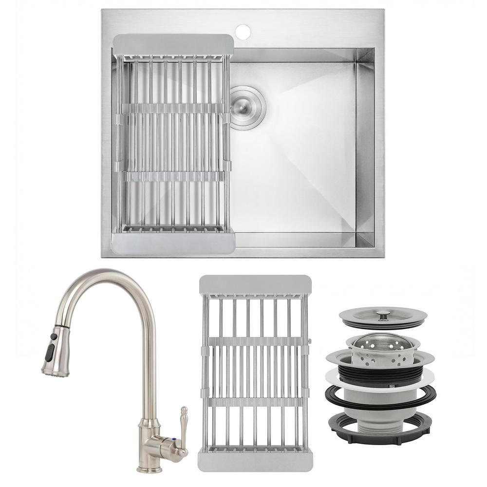 AKDY Handmade All-in-One Drop-in Stainless Steel 25 in. x 22 in. 1-Hole Single Bowl Kitchen Sink with Pull-Down Faucet, Brushed Stainless Steel was $468.0 now $319.99 (32.0% off)