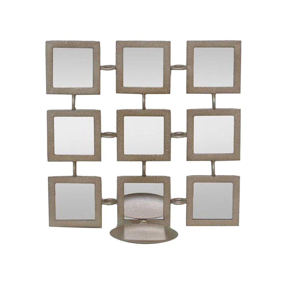 Home Decorators Collection 11 in. H x 11 in. W Light Gold Sara Mirror Candle Sconce