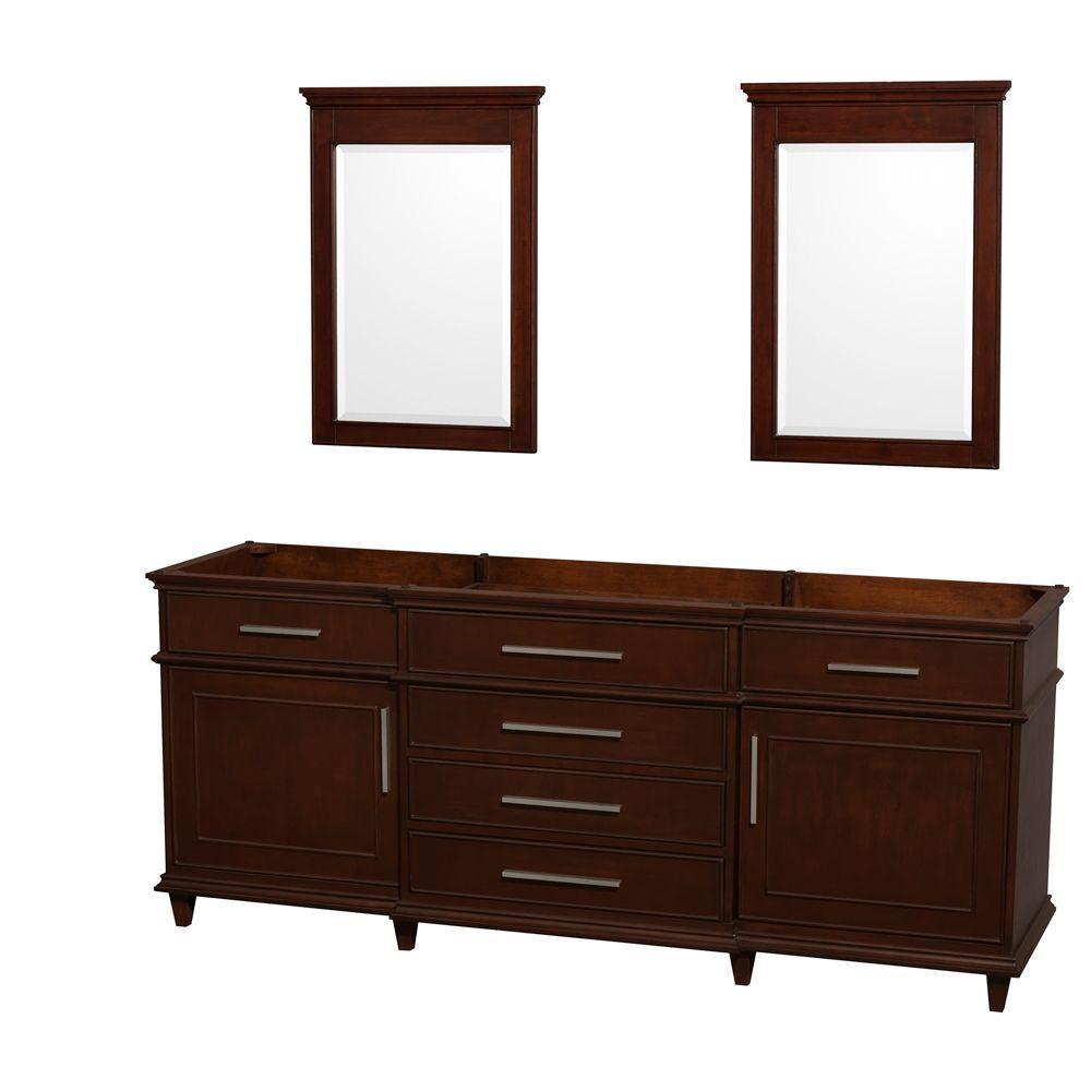 Wyndham Collection Berkeley 80 in. Vanity Cabinet with Mirror in Dark Chestnut