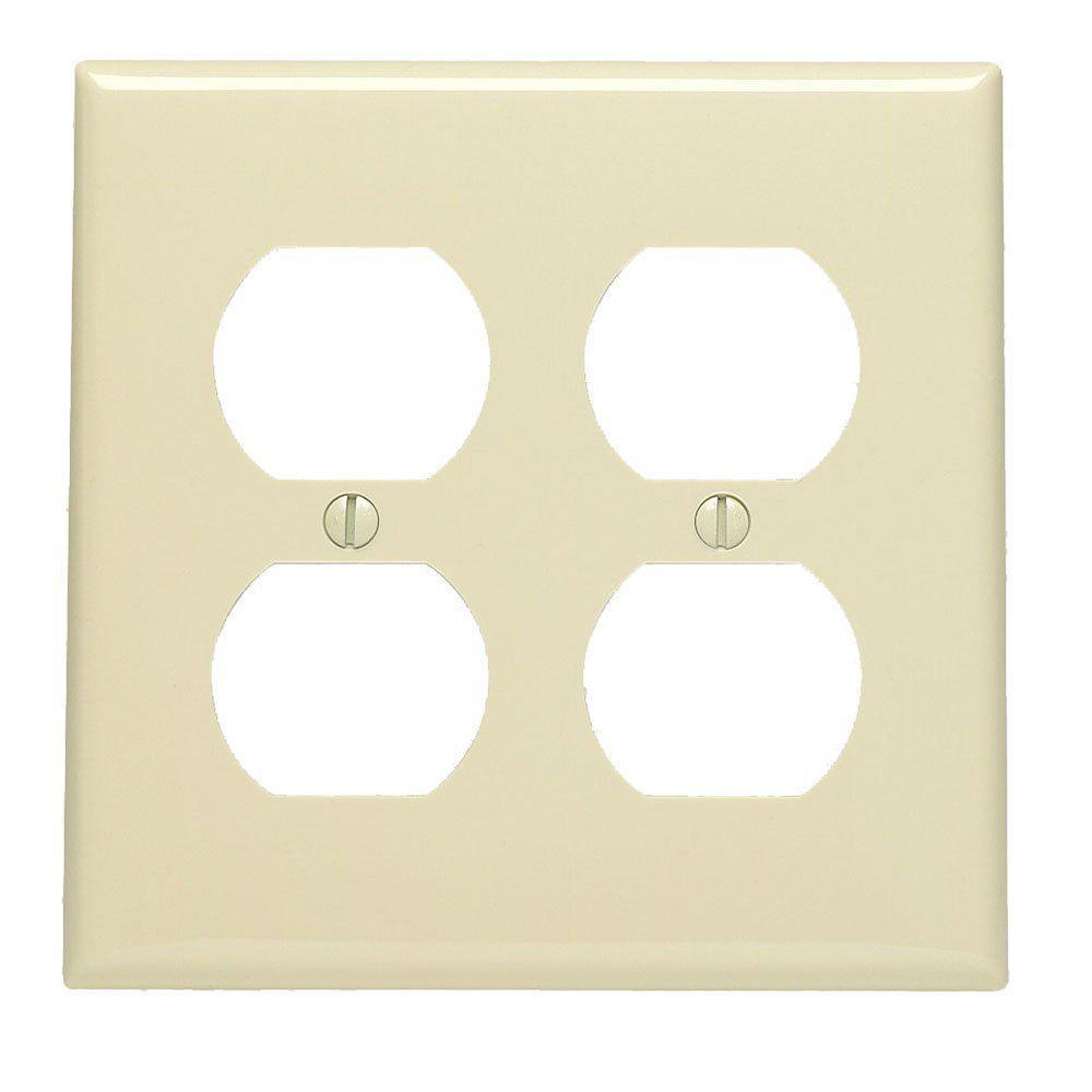 2-Gang Standard Size 2-Duplex Receptacles Nylon Wallplate, Ivory