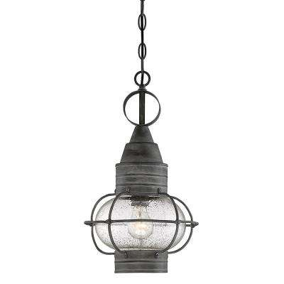 1-Light Outdoor Hanging Oxidized Black Pendant