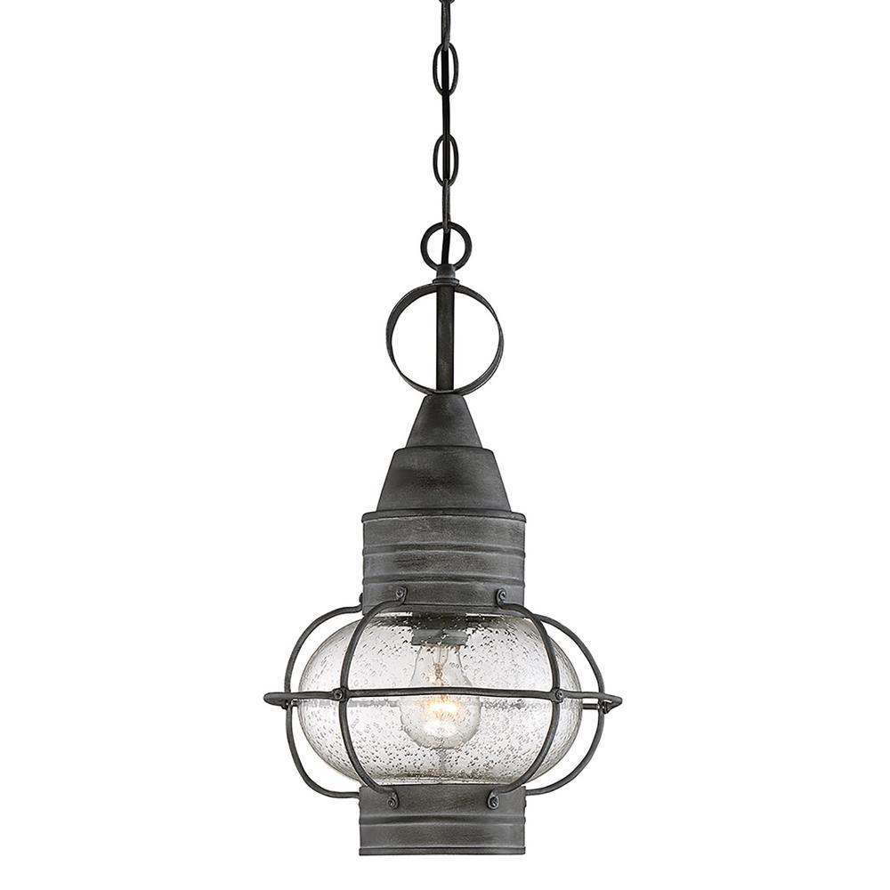 Filament Design 1 Light Outdoor Hanging Oxidized Black Pendant