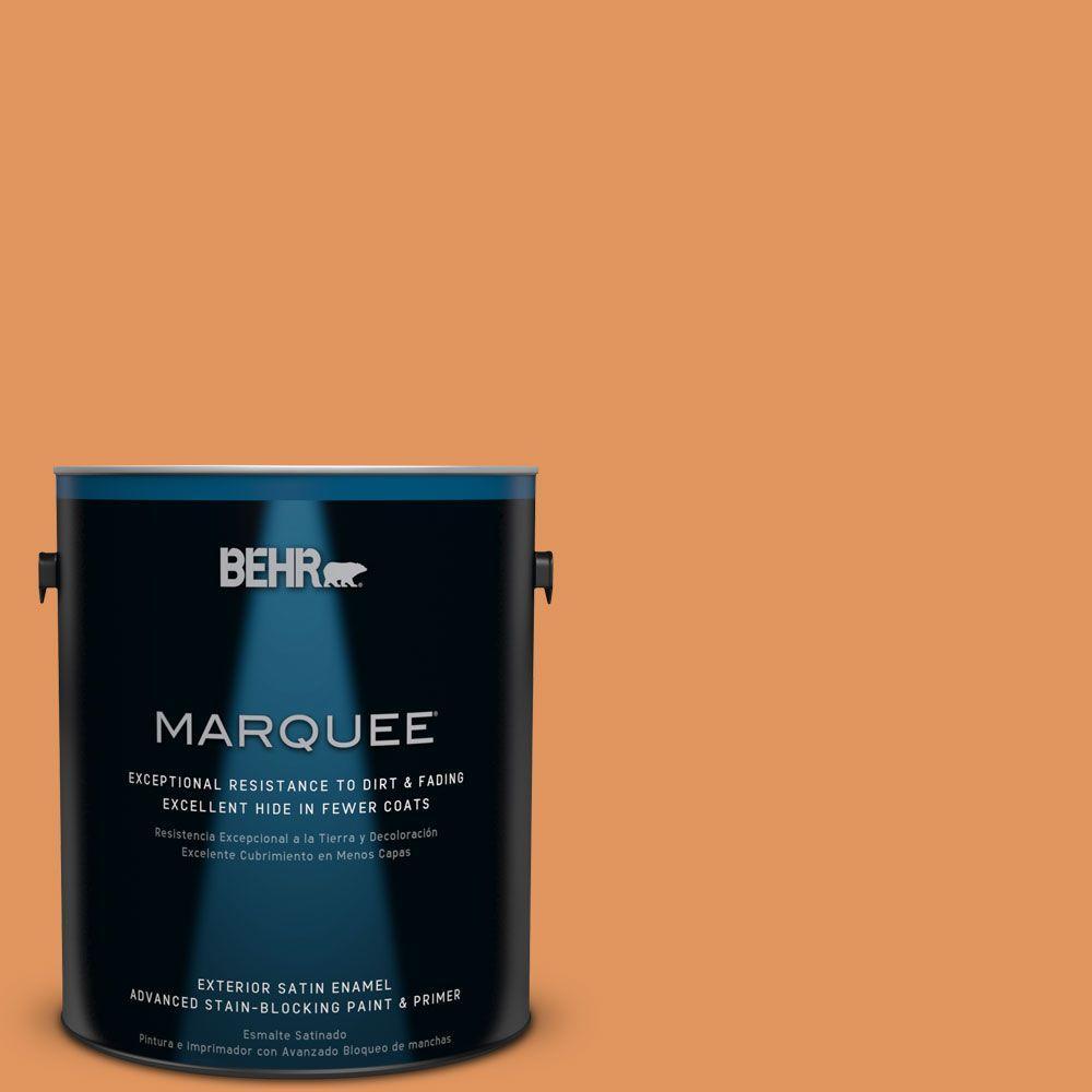 BEHR MARQUEE 1-gal. #M230-6 Amiable Orange Satin Enamel Exterior Paint