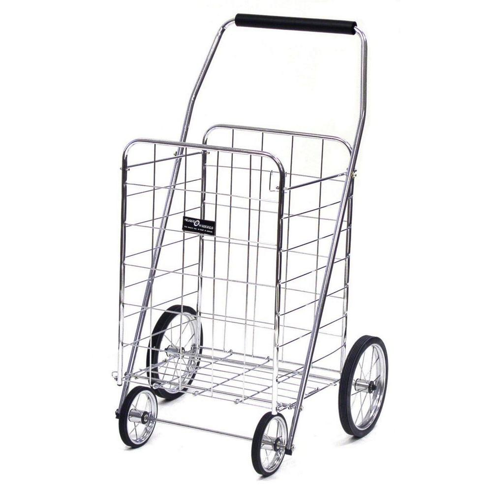 Easy Wheels Jumbo Shopping Cart in Elite Chrome, Silver Take the Easy Wheels Jumbo Shopping Cart with you to the grocery store, mall or wherever you need it. It holds up to 150 lbs. When transporting or storing, you can easily fold it down to fit compactly into spaces. Color: Silver.